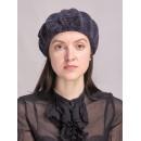 б46б-а28 // Головной убор меховой женский, цвет -тёмно-синий, (овчина/астраган)